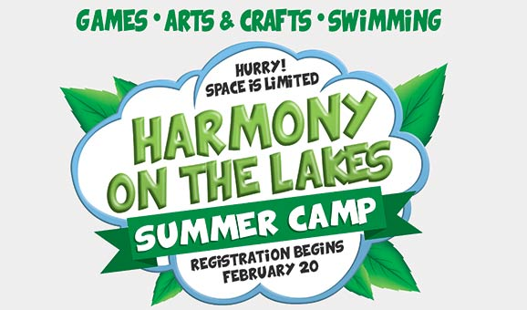 Games - Arts & Crafts - Swimming:  Harmony on the Lakes Summer Camp – Registration begins February 20